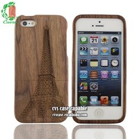 Natural Walnut Real Wood Phone Cover For Iphone 5s With Pattern Wholesale Wood Mobile Phone Case for iphone 4