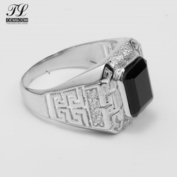Guangzhou pave artificial men's 925 silver rings arabic with black stone