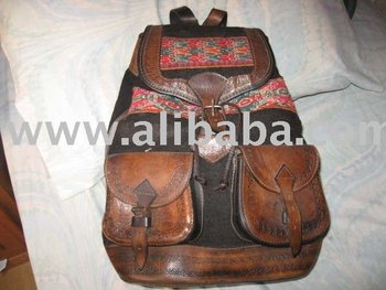 Backpack Leather With Ethnic Fabric
