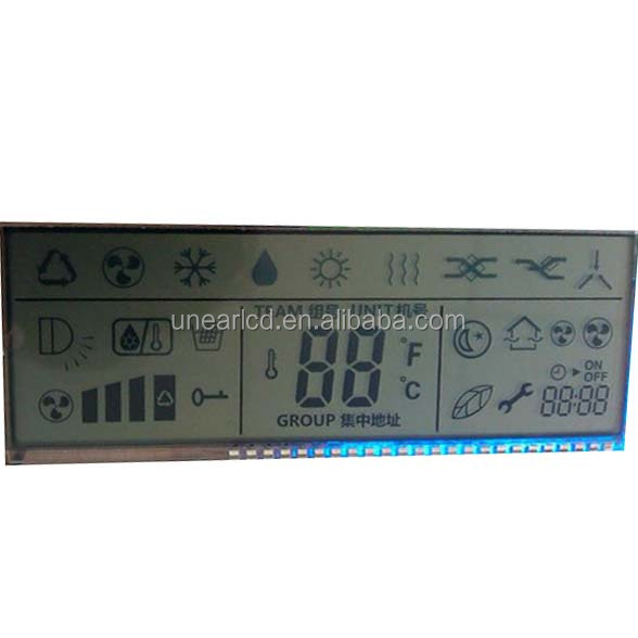 customize TN reflective lcd 7 segment positive lcd glass panel UNLCD20852