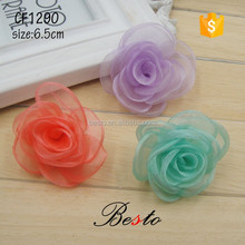 6.5CM Colorful rose tulle flowers for decoration