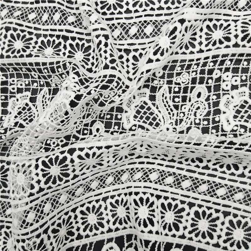 African Poly White Lace Dress Fabric Embroidery Chemical lace