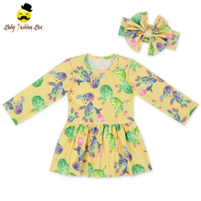 48BQA320-2 Long Sleeve Spring&Summer Festival Print Match Bow Baby Dresses For 7 Year Old Girl Summer Dresses 2017 1 Piece