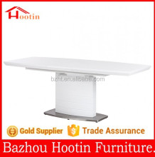 2015 most popular high glossy painting and stainless steel extendable dining table for home furniture