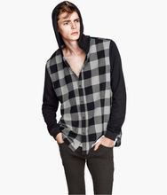 Checked flannel shirt with hood for men