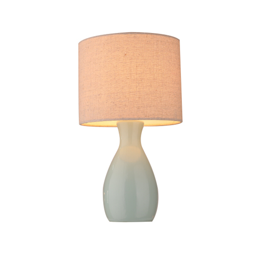 ceramic base table lamp with fabric lampshade for hotel and room indoor