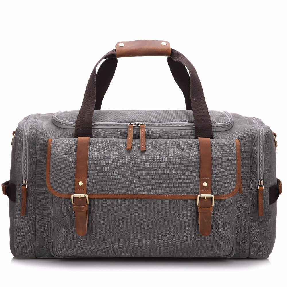 Retro Vintage Waxed Leather Canvas Duffel Duffle Bag Holdall Weekend Gym Travel Bag
