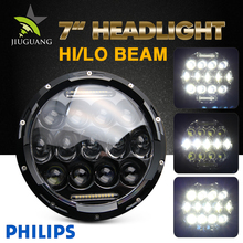 12Volt Parking Light High Low Beam Led Offroad Headlight H4, 7 Inch Round 25W 75W Led Motorcycle Headlight