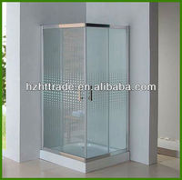 8mm glass shower enclosure One-piece Glass Corner Shower Enclosure HTSSliding double open with curved glass shower enclosure