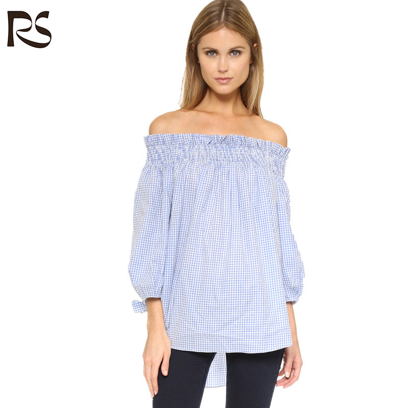 Womens three quarter sleeve off shoulder poplin blouse