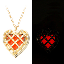 Fashion jewelry yellow color glowing in the dark heart necklace gold