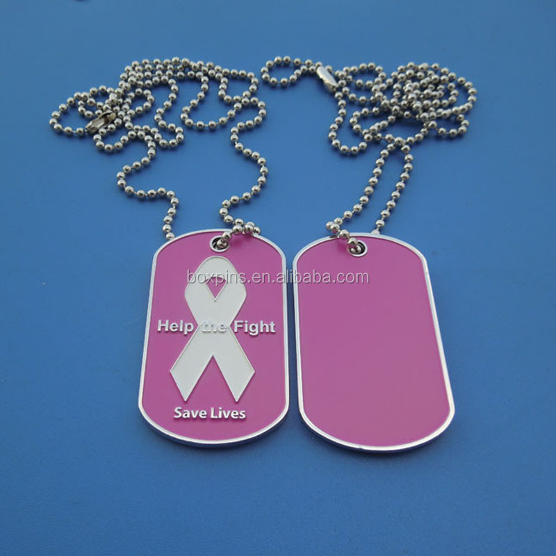 Help Me Fight White pink background white ribbon cancer awareness dog tag necklace