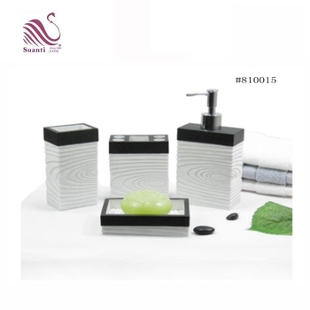 Beige with Black Stoneware Orbits Style Modern Design Resin Sandstone Bathroom Accessories Sets