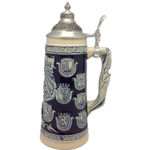 Wholesale German Beer Stein Mug Custom Made Beer Mug Ceramic Cobalt Blue Beer Stein with Lid and handle