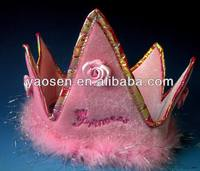 Cute Pink marabou princess crown for Girls with pink rose decoration