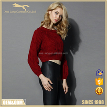 Winter long sleeve woolen lady sweater