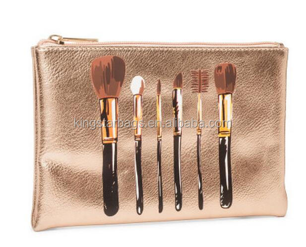 luxury gold color pu cosmetic bag with customed cosmetics printing