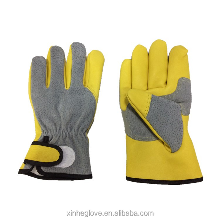Yellow sheepskin ahd grey pig grain leather safety gloves