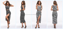 Latex cut side 2 pieces printting dresses