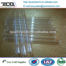 flat bottom clear quartz glass test tube