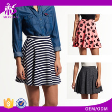 High Quality New Fashion Design Shandao Summer Casual Ruffle A Line High Waist Printed Cotton Girls Photo Sexy Short Skirt
