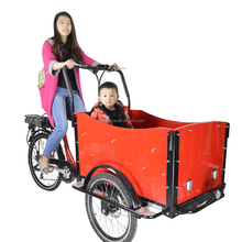 CE Holland bakfiets family 3 wheel cargo electric tricycle rickshaw bike with roof china