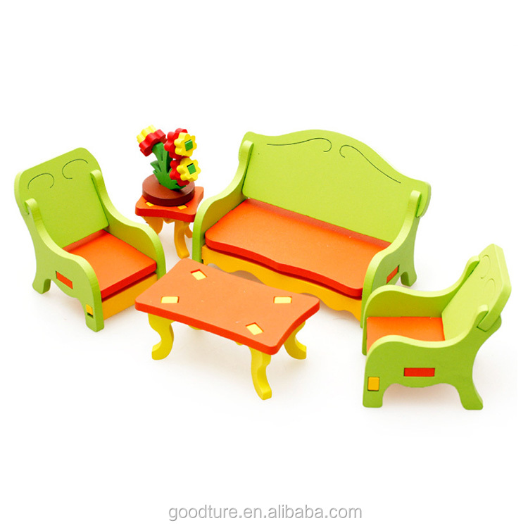 Wholesale 3D Assembling Mini Furniture Living Room Wooden Toy