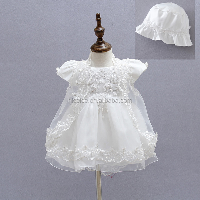 80bcc5f4f NS0876 Baby Girls Christening Gown Dresses+Hat+Shawl Vestidos Infantis Princess  Wedding Party Lace