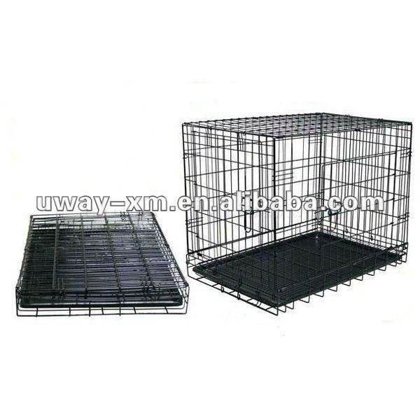 UW-PDC-002 Two door design folding steel dog cages,dog crate,dog kennel with plastic tray
