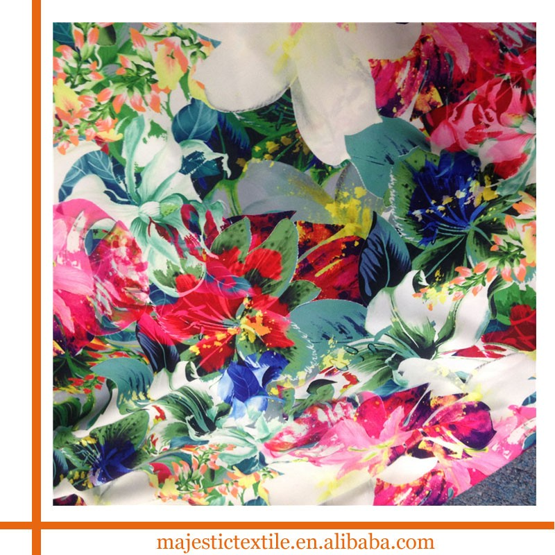 Custom textile floral print knitted 96 polyester 4 spandex lycra fabric wholesale