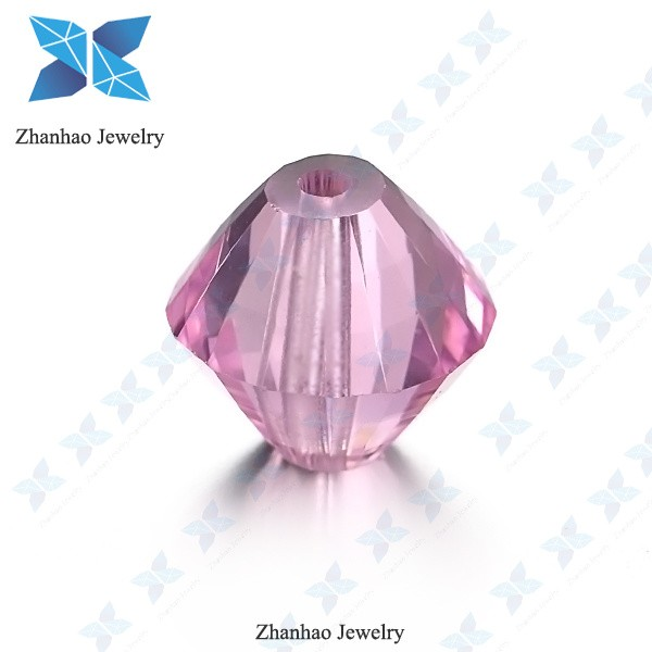loose stone special shape beads perfect cut pink cz gemstone with hole