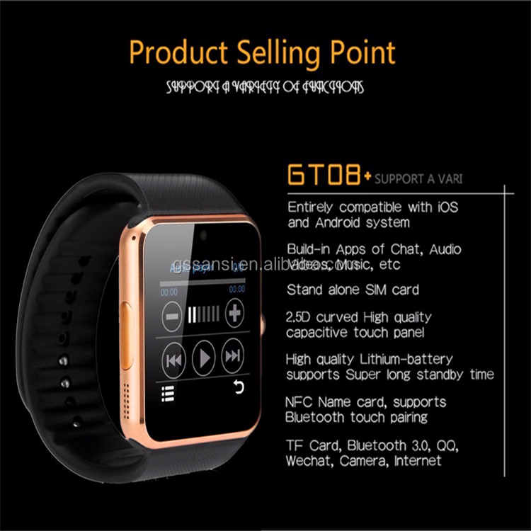 factory cheaper and high quality Android smart watch GT08 for kids with wifi and multifunction
