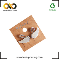 Kraft paper printing latter high grade taobao custom made silver earring jewelry card