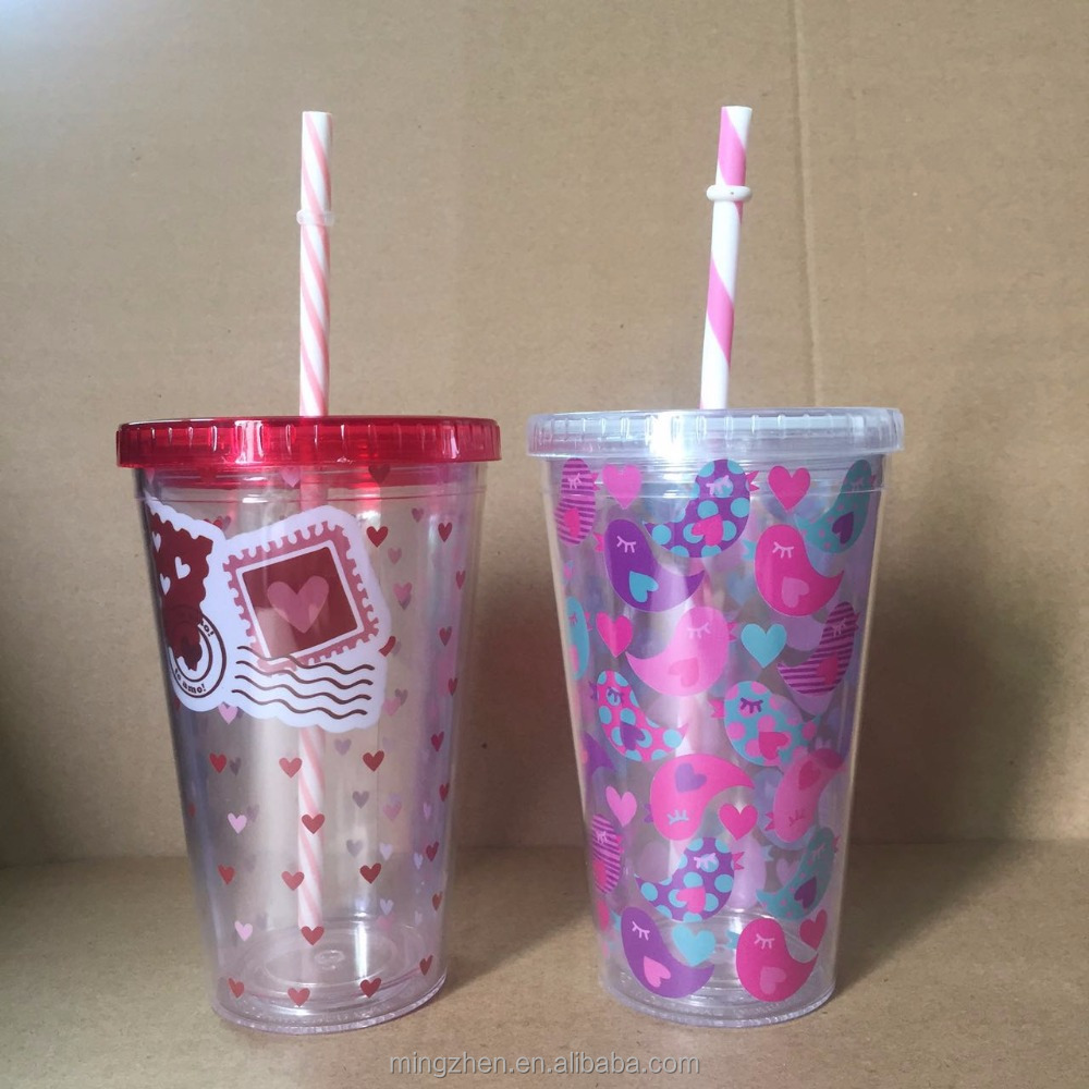 BPA free double wall paper insert plastic juice tumbler cup with straw, Colorful Paper Insert Double Wall Plastic Coffee Tumbler