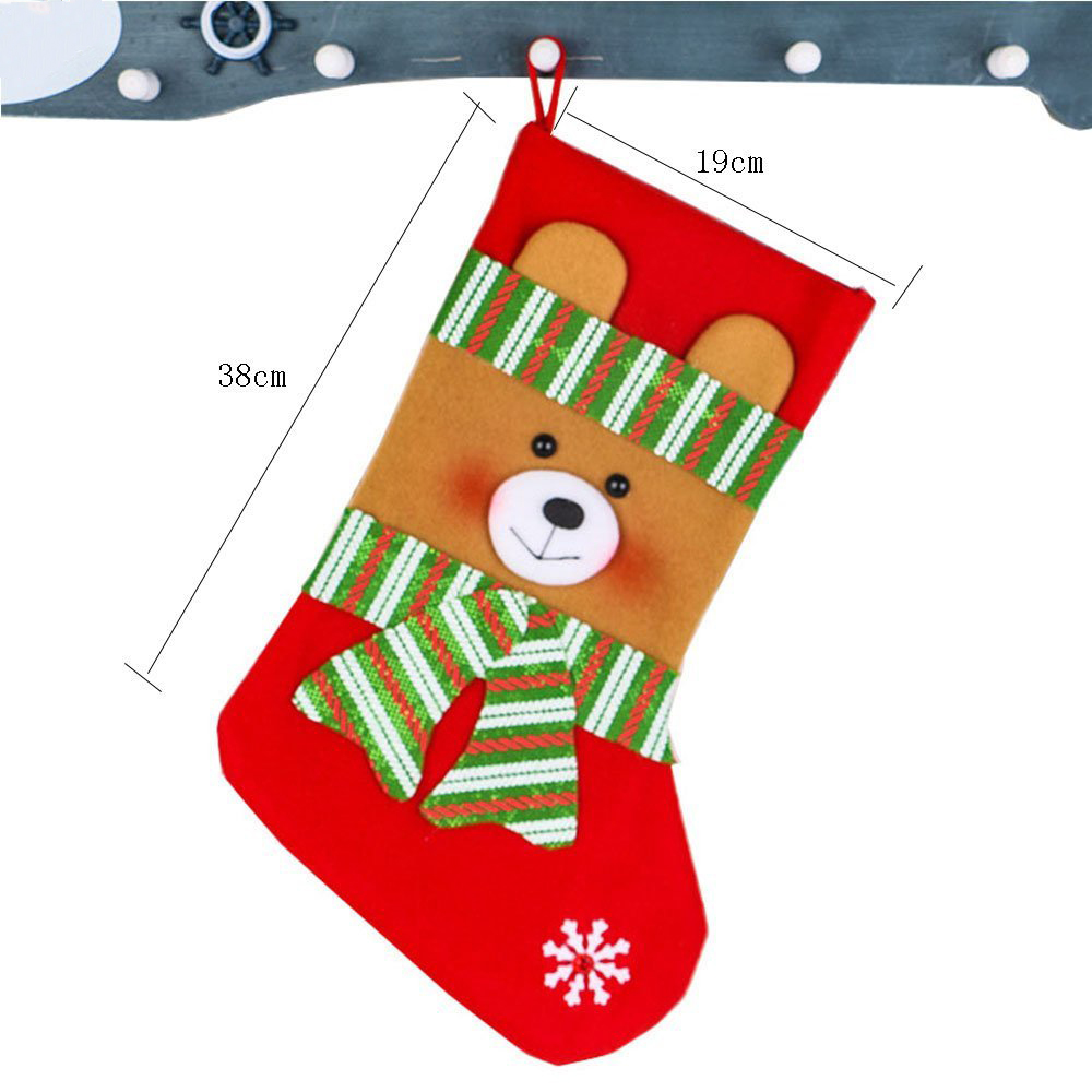 Hot Selling 4 Pcs Set Velvet Christmas Stockings Socks Santa Claus Candy Gift Bag Decorations with Christmas Gift