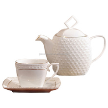 chinese ceramic tea set cup teapot plain white porcelain teapot for wholesale
