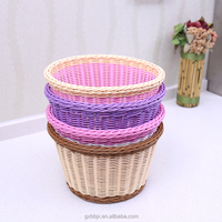 Wholesale Hot Selling Colorful Waterproof Hand-woven Eco-Friendly Storage Type Round PP Rattan Fruit Basket