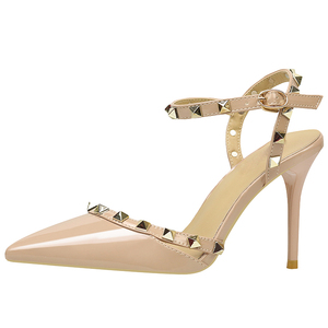 Western Design Rivets Pointed Toe Slingback Ladies Shoes in Dubai Women High Hills