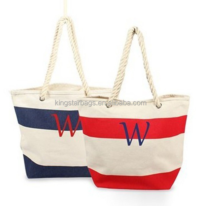 Stripes Printing Canvas Monogrammed Tote Bags