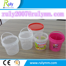 Wholesale clear/transparent 500ml 1L 2Lplastic bucket for food storage
