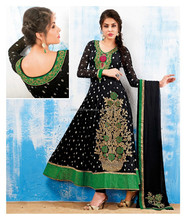 Black Ethnic Party Wear Traditional indian Women Salwar Kameez Long Anarkali Dress R1744