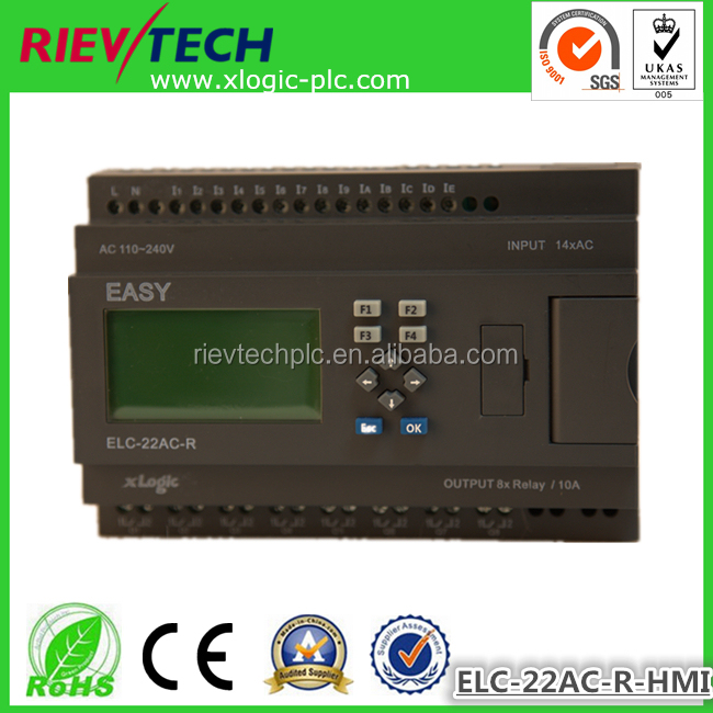 Super mini plc,intelligent controller ELC-22AC-R-HMI