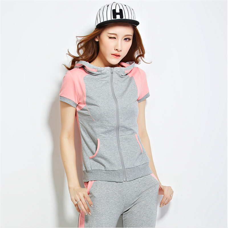 2015 New Summer Style Hooded Moleton Feminino Casual Sport Suit  Hit Color Tracksuits Sweatshirt  Harem Pants 2 Piece Set Women