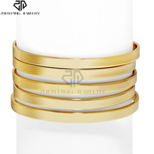 A Set of Five Glod Cuffs Bangle 0.2 inch Wide Stainless Steel Adjustable Cuff Bracelet