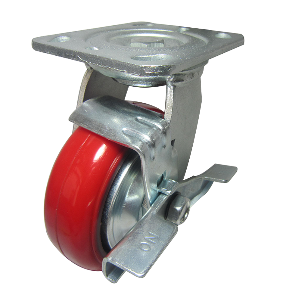 Removable Industrial Heavy Duty Cast Iron Pu Swivel Caster Wheels With Brake Wholesale