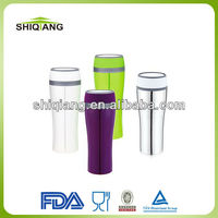 380ml rounded double wall plastic thermal travel coffee mugs with push button lid water 360 degree out leakproof lid