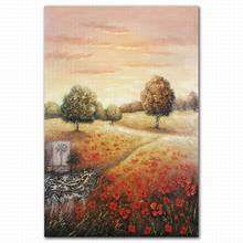 Hand-painted landscape flower and tree design glass oil painting wall picture