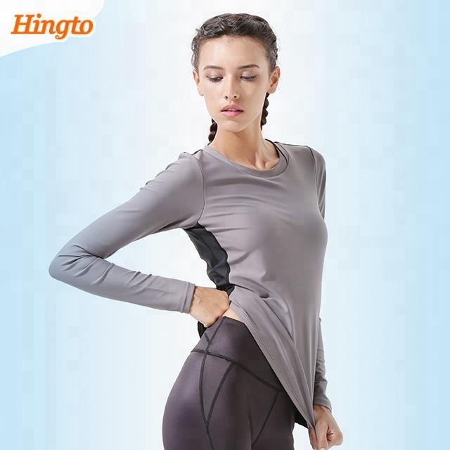 China wholesale custom cheap skin tight long sleeve athletic sports t shirts for women