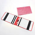 Pink Red Crocodile Leather Golf Scorecard Holder with Wooden Pencil