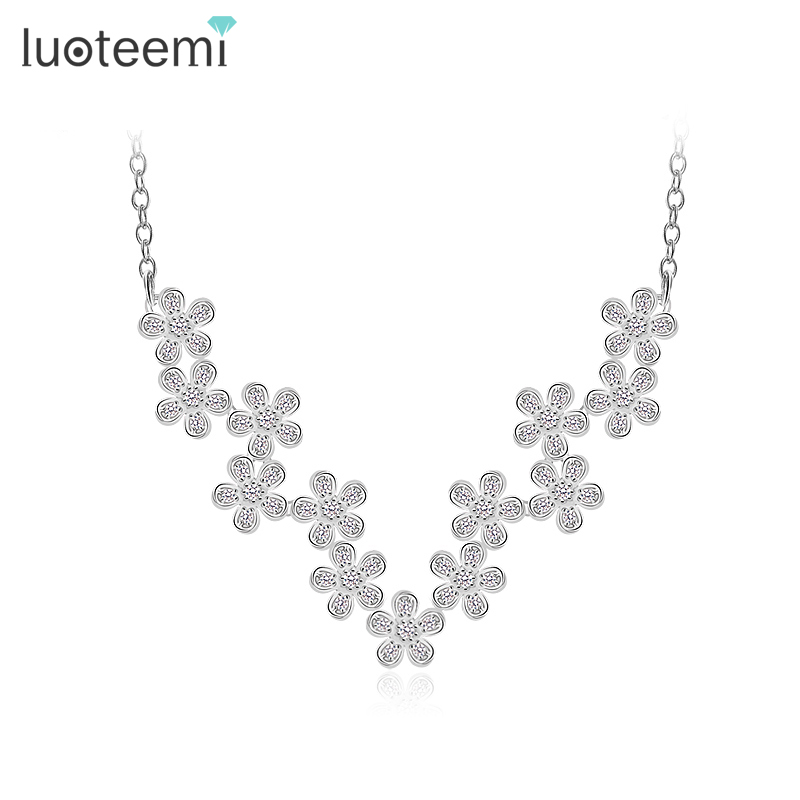 LUOTEEMI Fashion Quality 2015 Princess Flower CZ Necklace Bridal Wedding Jewelry For Women Jewelry Sexy Chokers Necklaces